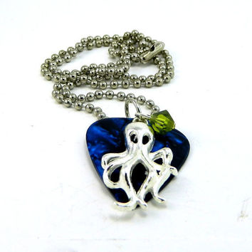 Guitar Pick Necklace Blue Fender Marble and Silver Squid Charm Necklace with Green Swavorski Crystal