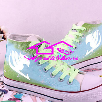 Fairy Tail Symbol on White Canvas Shoes High Tops with Galaxy Background, Custom Shoes for Women and Men, Not Converse