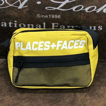 Places & Faces New fashion single shoulder bag oblique straddle bag men and women wallet small waist bag Yellow