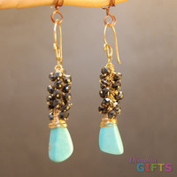 """Clusters of black spinel and turquoise, 1-3/4"""" Earring Gold Or Silver"""