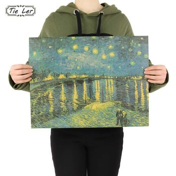 Retro Kraft Paper Poster Van Gogh Starry Night Over the Rhone Home Decor Painting Wall