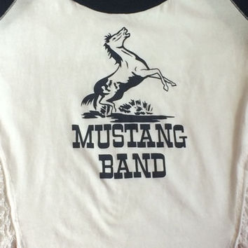 Free People Mustang Band T Shirt Top With Knit Back Small