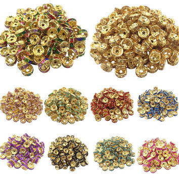 50pcs 8mm DIY Gold Plated Round Acrylic Crystal Spacer Loose Beads For Necklace Bracelet Metal Beads Charms Jewelry Making
