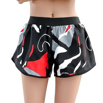 Women Yoga Shorts High Waist Sport Leggings Camouflage Quick Dry Workout Elastic Gym Running Short Pants Interior lining Bottoms