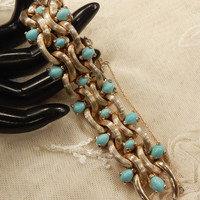 Beautiful Vintage Boucher Faux Turquoise Glass Cabochon Braided Textured Chain  Bracelet