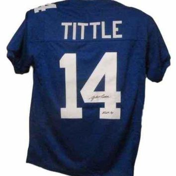 LMFONY Y.A. Tittle Signed Autographed New York Giants Football Jersey (JSA COA)