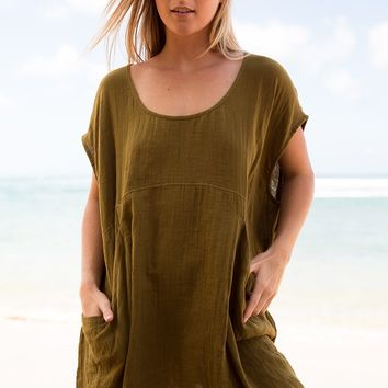 ACACIA Swimwear 2018 Mana Cotton Dress in Mustard