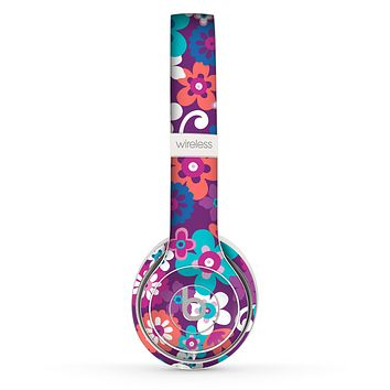 The Colorful Purple Flower Sprouts Skin Set for the Beats by Dre Solo 2 Wireless Headphones