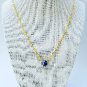 Blue agate necklace, gold blue necklace, simple blue pendant necklace, blue pendant necklace, spiritual necklace, protection necklace