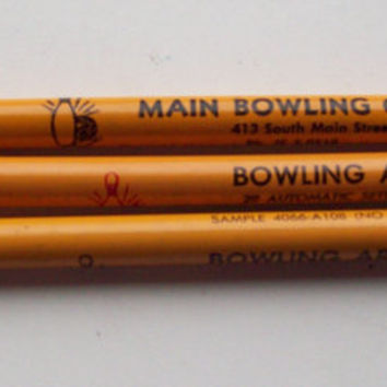 Lot of 3 Vintage Jumbo Salesman Sample Round Advertising Pencils - Bowling Center/Arena - Yellow, Old