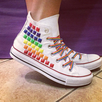 Custom Converse Rainbow Studded High Tops  ALL SIZES   COLORS! C cfa75b2111