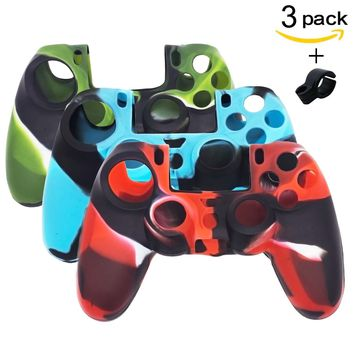 BRH 3 Package Silicone PS4 Controller Skin, Anti-slip Silicone Cover Skin Set for PS4 /SLIM /PRO Controller With Silicone Cigarette Holder Ring.