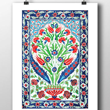 Ottoman Floral Wall Tile Art Watercolor Print Turkish Digital Print Carnation Wall Art Traditional Wall Decor Wall Hanging