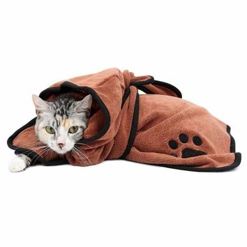 Comfortable Dog Towel Super Absorbent Pet Bathrobe Drying Towel Quality Embroidery Paw Cat Dog Hooded Puppy Bath Towel