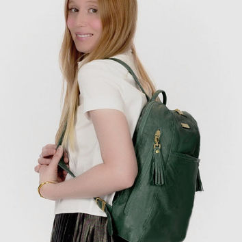 Green Leather Backpack / Green Leather Bag / Travel Backpack / Green Backpack / Hipster Backpack / Laptop Bag / Soft Leather Backpack