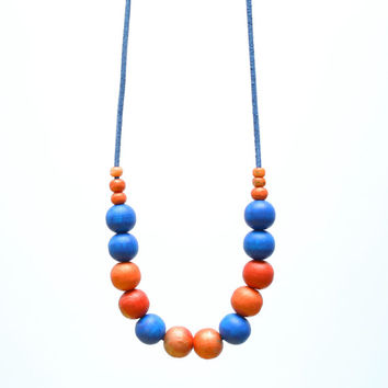 Electric blue and orange long necklace, chunky wooden beads, abstract necklace pastel OOAK necklace, wood hand painted necklace