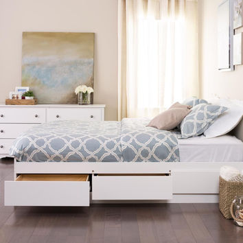White Queen Mate Platform Storage Bed with 6 Drawers