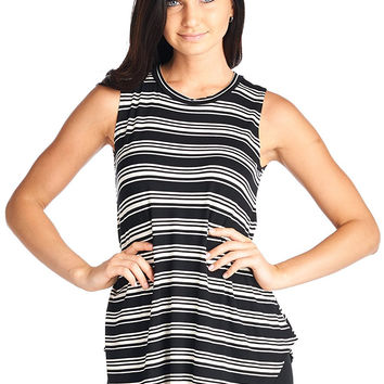 82 Days Women'S Rayon Span Printed Super Comfy Side Slit Tunic Tank - Print