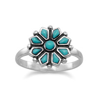 Turquoise Flower Ring in Sterling Silver