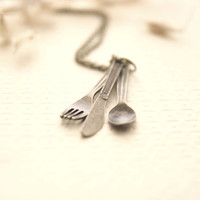 Spoon, Fork, Knife Necklace << Chef Foodie Gift >> Gifts For Foodie