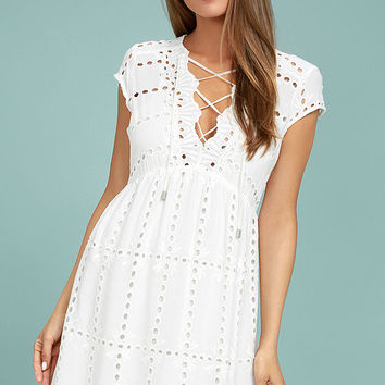 Here to Stay White Lace Dress