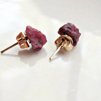 Raw Ruby Stud Earrings, Blood Red Ruby, Beautiful Red Gift For Her, Ruby Earrings