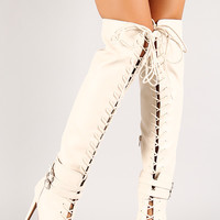 Lace Up Pointy Toe Stiletto Thigh High Boot
