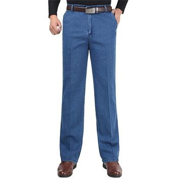 Mens Blue Denim Pants Casual Classic Straight Man Long Trousers Baggy Stretch Male Biker Jeans With High Waist Loose Size 30-40