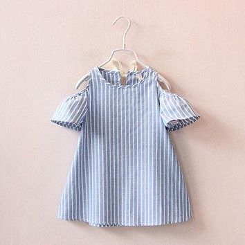 Infants Kids Baby Girls Summer Off Should Dress Infant Stripes Outfits Princess Bowknot Party Tutu Dresses Hot Cllothing