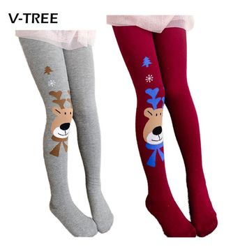 2017 Christmas clothing baby girls tights wapiti cotton tights kids girls pantyhose warm winter children's stockings 2-7Y
