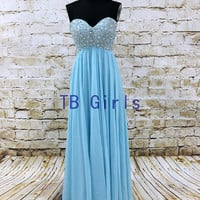 Blue Chiffon Crystal Sweetheart Prom Bridesmaid Dress, Lace Up Long Bridesmaid Dress, Beads Homecoming Dress, Women's Birthday Party Dress