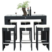 Outsunny 7 Piece Rattan Wicker Bar Stool Dining Table Set - Black - Walmart.com