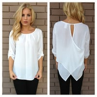 White Cross Back 3/4 Sleeve Blouse