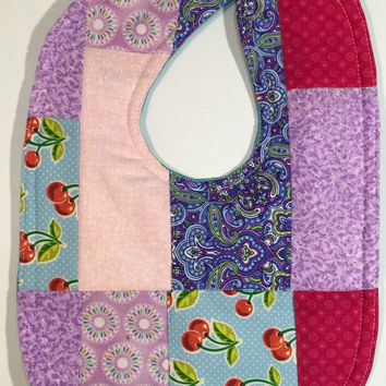 Quilted baby bib-baby bib- girl bibs- toddler bibs- gifts for baby girls- new baby gifts- scrappy bib- dribble bib- patchwork bib- boy bib