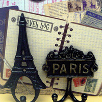 Eiffel Tower Paris Cast Iron Pair of Wall Hooks Black French Shabby Style Chic Design Art Decor Paris Jewelry Towel Leash Key Mudroom Hook