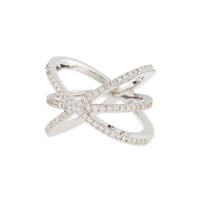 18K White Gold Diamond Double-Crisscross Ring - Roberto Coin