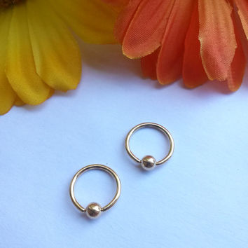 "Gold 16g 3/8"" hoop captive bead ring body jewelry ear eyebrow rook nose smiley helix lip nipple"