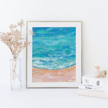 Seascape Painting Turquoise Coastal Art Print