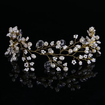 Golden Hairbands Wedding Tiara Pearl Wedding Crown Bridal Hair Accessories Head Jewelry Wedding Hair Accessories CY161117-103