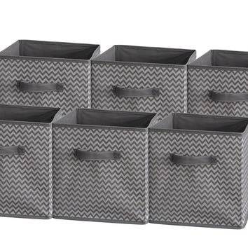 Sodynee Foldable Cloth Storage Cube Basket Bins Organizer Containers Drawers 6 Pack Stripe