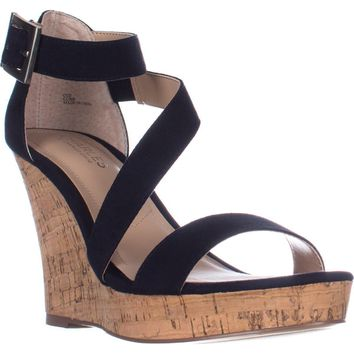 Charles Charles David Leanna Strappy Wedge Sandals, Navy, 10 US