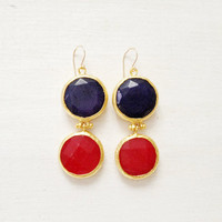 LARGE dangle long  DUAL bright red and navy blue gemstone earrings gold gemstone earrings Israel jewelry