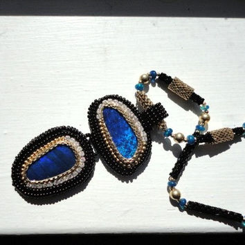 black opal statement necklace . beaded 14k gold filled necklace . cabochon pendant .black & gold jewelry. seed bead jewelry . opal pandant