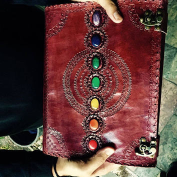 Extra Large Leather Journal, Leather Bound Chakra Journal, Magical Seven Stones Journal, Chakra Book