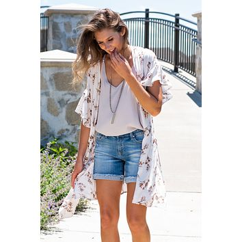 Simply Subtle Ruffled Sleeve Kimono : Off White/Mocha