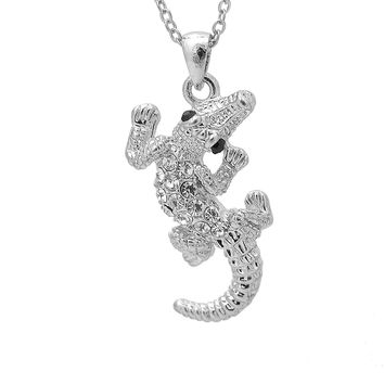 Crystal Wrenching Alligator Necklace