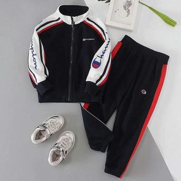 Champion Girls Boys Children Baby Toddler Kids Child Fashion Casual Cardigan Jacket Coat Pants Trousers Two Piece Set