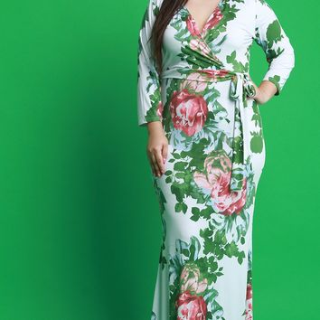Floral Print Surplice Long Sleeves Maxi Dress