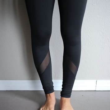 Admire Black Active Mesh Paneled Leggings