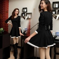 Fanewant — Fashion Black Long Sleeve Nice Dress